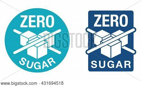 Zero Sugar Sign For Diabetic Food Labeling - Crossed Out Sugar Cubes, Artificial Sweeteners. Isolate