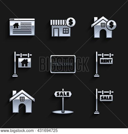Set Doormat With The Text Welcome, Hanging Sign Sale, Rent, House, Dollar Symbol And Online Icon. Ve