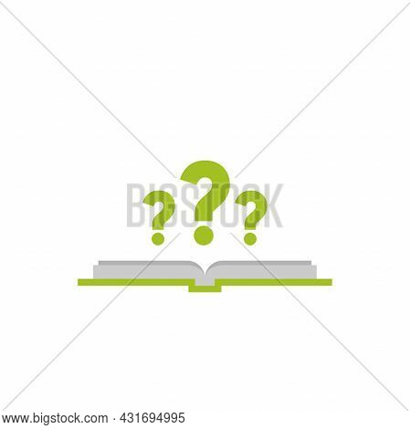 Open Book With Question Marks. Isolated On White Background. Flat Vector Reading Icon. Unknown Book