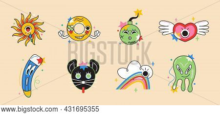 Crazy Sticker Vector Set. Abstract Comic Character With Big Angry Eye In Trendy Hand Drawn Style.