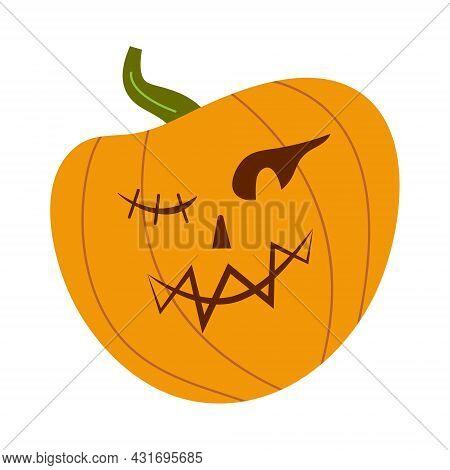 Pumkin Scary Halloween Face Vector. Halloween Pumpkin Or Ghost Grimace.