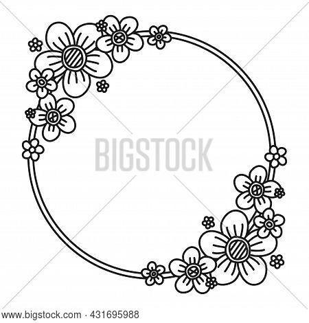 Black And White Flower Wreath With Copyspace