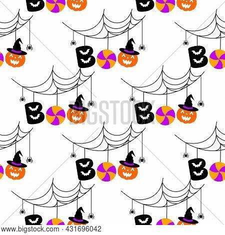 Halloween Festive Seamless Pattern. Boo With Halloween Element, Bats, Lollypop, Pumpkin And Spider W
