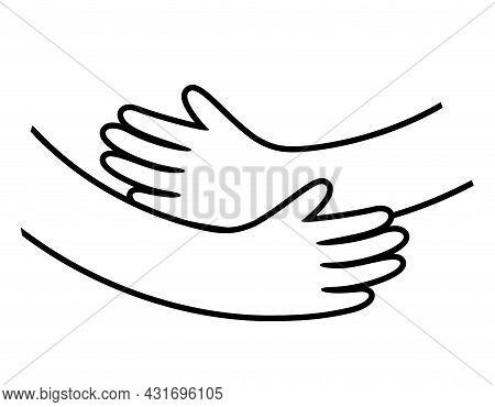 Hand Hug Vector Design. Embrace Icon, Love Concept. Happy Valentine Day. Vector Illustration.