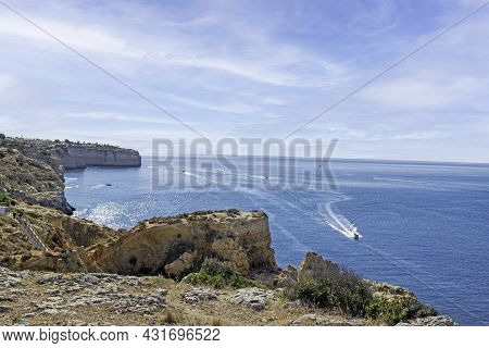 Rocks Formations In Natural Site Of Algar Seco In Carvoeiro, Lagoa, Algarve, Portugal
