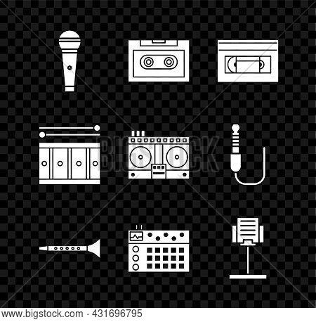 Set Microphone, Retro Audio Cassette Tape, Vhs Video, Clarinet, Drum Machine, Music Stand, With Drum