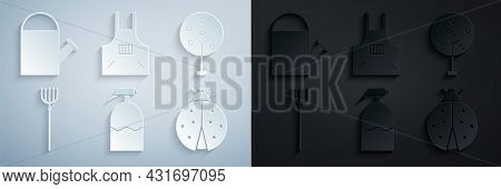 Set Garden Sprayer, Tree, Pitchfork, Ladybug, Kitchen Apron And Watering Can Icon. Vector