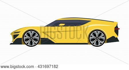 Modern Sports Car. Side View Of A 2-door Coupe. Vector Car Icon For Road Traffic And Transportation