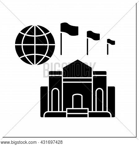 High Commission Glyph Icon. Diplomatic Mission, Found In Countries Members Of The Commonwealth Of Na