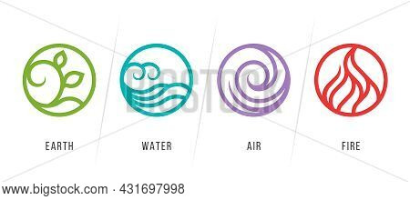 4 Elements Of Nature Symbols With Earth Water Air And Fire Symbols, Circle Line Border Style Collect