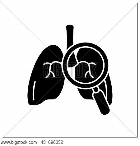 Lungs Glyph Icon. Detailed Lung Examination. Finding Problems. Respiratory Organ. Pneumonia. Human I