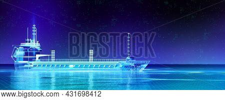 Oil Tanker Ship On Blue Digital Hi Tech Futuristic Background. Quality 3d Render Metaphor For Global