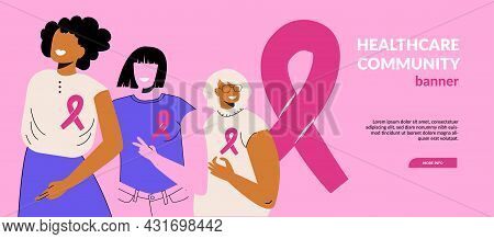 Breast Cancer Awareness Month October Web Banner With Diverse Ethnic And Different Ages Women Group