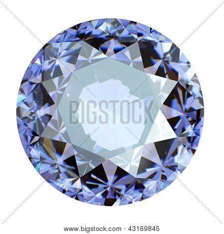 Jewelry gems roung shape on white background. tanzanite
