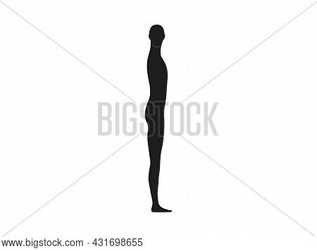 Side View Silhouette Of A Neutral Gender Person With Head Turned Front.
