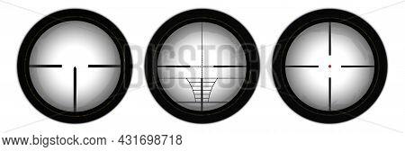Rifle Reticle. Sniper Scope. Crosshairs Of A Gun Optics.