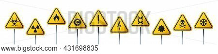 Rounded Triangular Signs Of A Hazard Warnings. Yellow Signs With Varied Danger Symbols
