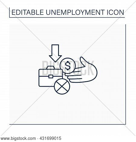 Unemployment Benefit Line Icon. Cash Benefits For Fired Workers. Unemployment Insurance, Payment, Co