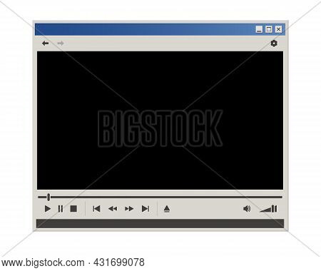 Vintage Video Player Interface. Retro Style Multi Media Player Window