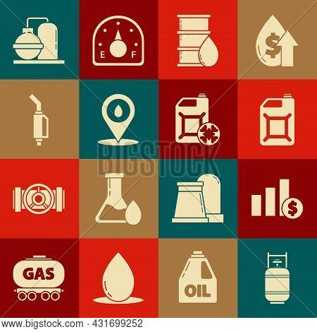 Set Propane Gas Tank, Canister For Gasoline, Barrel Oil, Refill Petrol Fuel Location, Gasoline Pump