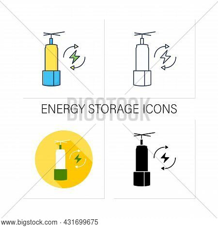 Energy Storage Icons Set. Long-duration Energy Warehouse. Manage Power. Electricity Concept. Collect