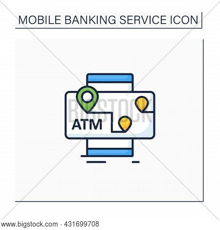 Atms Mobile Map Color Icon. Location Automated Teller Machine.marker With Atm Cashpoint Bank. Gps Lo