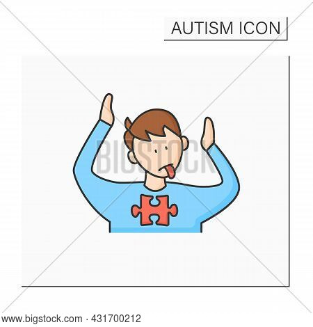 Neurodevelopmental Disorder Color Icon. Abnormal Body Posturing. Facial Expression. Restricted, Repe