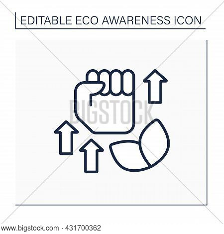 Ecology Fight Line Icon. Ecology Activism. Fist Up. Support And Protection Environment. Eco Awarenes