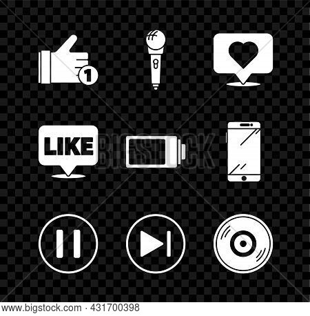 Set Hand Like, Microphone, Like Heart, Pause Button, Fast Forward, Vinyl Disk, Speech Bubble And Bat