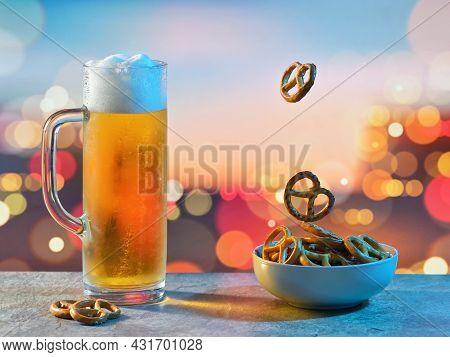 Closeup Pint Of Beer And Salted Pretzels Shoot In Studio