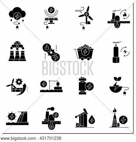 Energy Glyph Icons Set. Thunderstorm, Solar, Wind Energy. Nonrenewable Sources. Power Stations. Elec