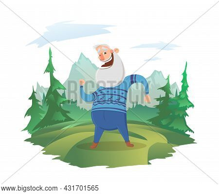 A Happy Elderly Man On A Forest Lawn. Forest And Mountain Landscape In The Background. Active Old Ag