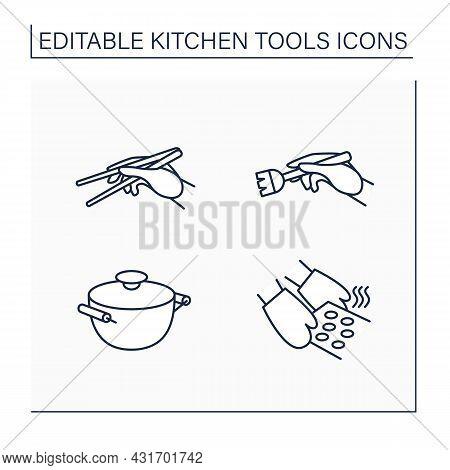 Kitchen Tools Line Icons Set. Cooking Utensils. Stockpot, Brush, Chopsticks, Oven Mitts. Kitchen Equ
