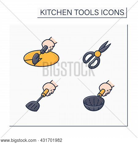 Kitchen Tools Color Icons Set. Cooking Utensils. Pizza Cutter, Shears, Stainer, Spade. Kitchen Equip