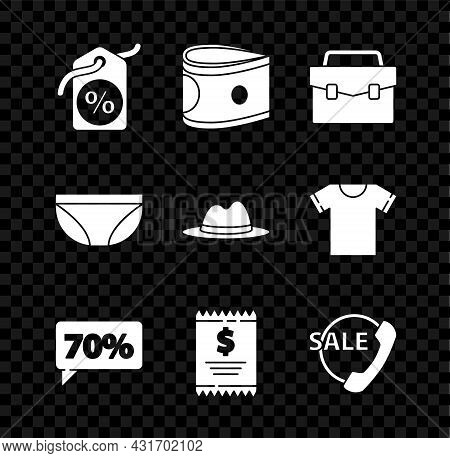 Set Discount Percent Tag, Stacks Paper Money Cash, Briefcase, Seventy Discount, Paper Check And Fina