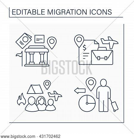 Migration Line Icons Set. Embassy, Labour Relocation, Forced Family Escape. Migration Concept. Isola