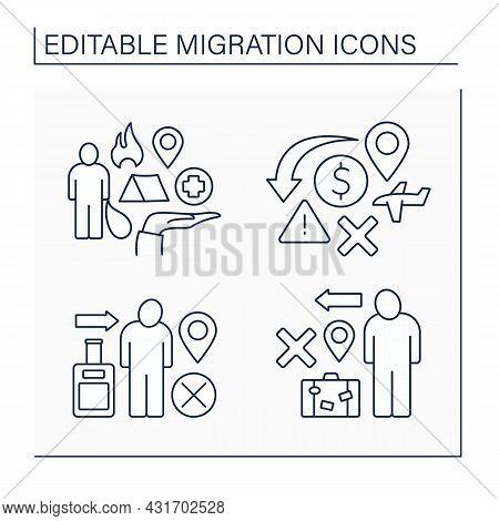 Migration Line Icons Set. Emigration And Immigration. Humanitarian Catastrophe, Refugee. Migration C