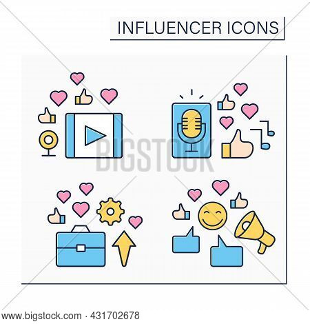 Influencer Color Icons Set. Video Clip, Podcast. Industry Expert. Blogging Concept. Isolated Vector