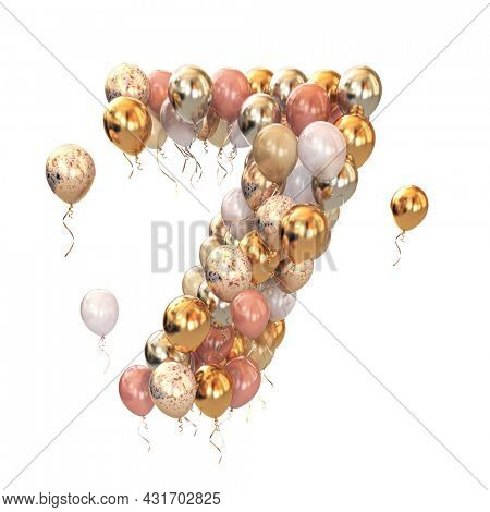Baloon bunch in form of number seven 7 isolated on white. Text letter for age, holiday, birthday, celebration. 3d illustration