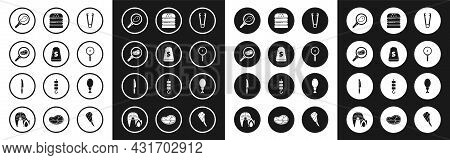 Set Meat Tongs, Salt, Steak Meat In Frying Pan, Frying, Burger, Chicken Leg And Knife Icon. Vector