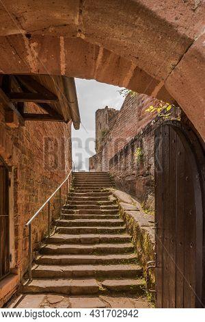 Annweiler Am Trifels, Rhineland-palatinate, Germany - August 21, 2021. Stairway In Trifels Castle