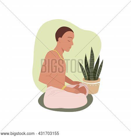 Yoga People, Young Man Meditating In Lotus Position, Buddhist Sitting In Pranayama Asana