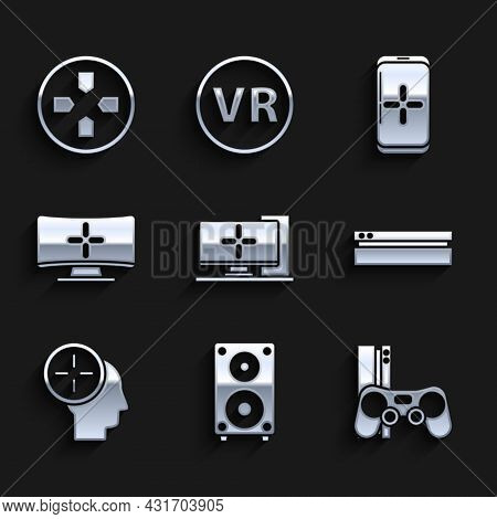 Set Computer Monitor, Stereo Speaker, Game Console With Joystick, Video Game, Head Hunting Concept,