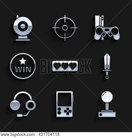Set Like And Heart, Portable Video Game Console, Joystick For Arcade Machine, Sword, Headphones, Med