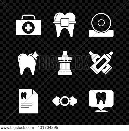 Set First Aid Kit, Teeth With Braces, Otolaryngological Head Reflector, Clipboard Dental Card, Candy