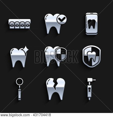 Set Dental Protection, Broken Tooth, Tooth Drill, Inspection Mirror, Whitening Concept, Online Denta