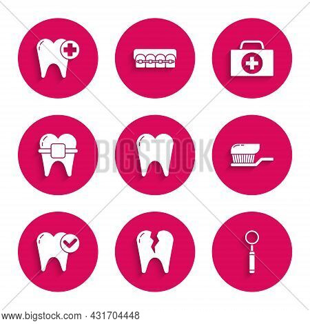 Set Tooth, Broken Tooth, Dental Inspection Mirror, Toothbrush With Toothpaste, Whitening Concept, Te