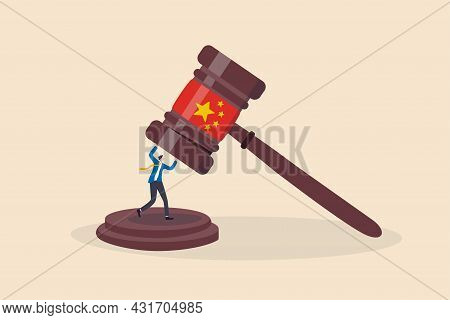 China Government Regulations To Manipulate Or Control Company With New Rules Concept, Businessman Bu