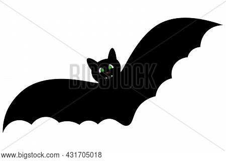 Bat. Silhouette. Cute Toothy. Glowing Eyes. Vector Illustration. Isolated White Background. Flat Sty