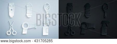 Set Hair Dryer, Hand Mirror, Scissors Hairdresser, Hairdresser Pistol Spray Bottle, Classic Barber S